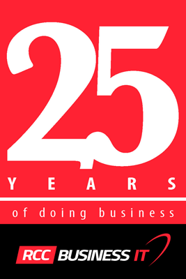 White text on a red field reads 25 Years of doing business. Below it, in a black field is the logo RCC Business IT