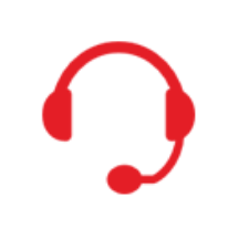 A red headset silhouette